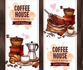 Coffee vertical  banners with coffee mill vector 01