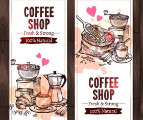 Coffee vertical  banners with coffee mill vector 02