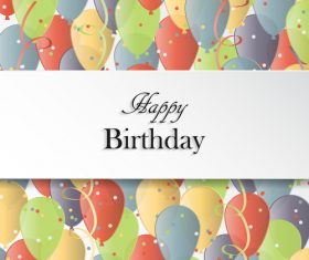 Colored balloons background with birthday card vector