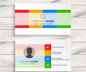 Colored business card template creative vector