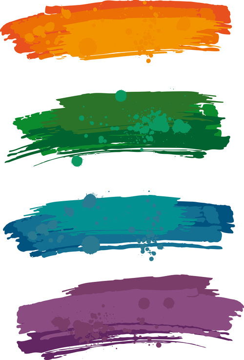 Colored Paint Stains Brush Vector Illustration Free Download