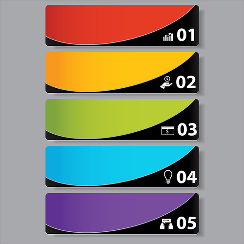 Colorful banners vectors template 01