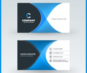 Company business card template blue vector 13