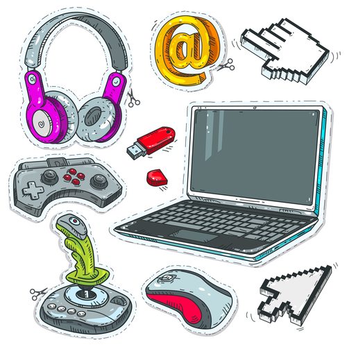 Computer and accessories sticker vector