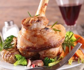 Cooked lamb chop with vegetable Stock Photo 01