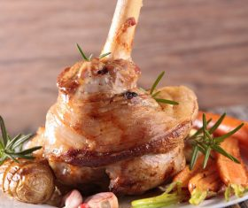 Cooked lamb chop with vegetable Stock Photo 03