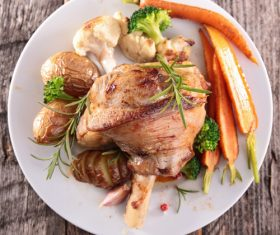 Cooked lamb chop with vegetable Stock Photo 04