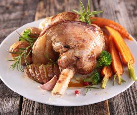 Cooked lamb chop with vegetable Stock Photo 05