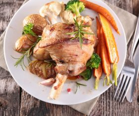 Cooked lamb chop with vegetable Stock Photo 07