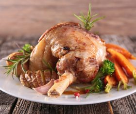 Cooked lamb chop with vegetable Stock Photo 08