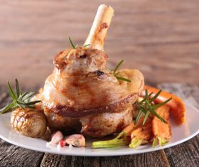Cooked lamb chop with vegetable Stock Photo 10