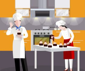 Cooking people vector