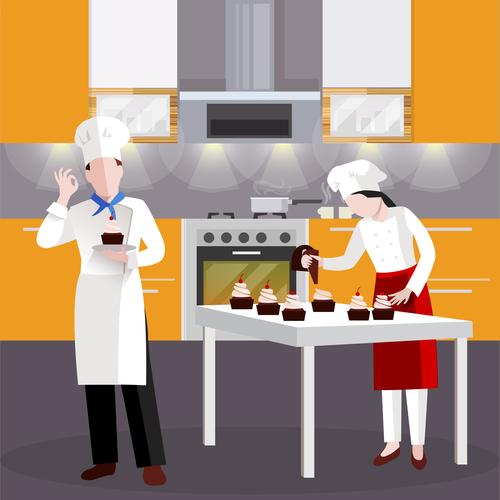 Cooking people vector
