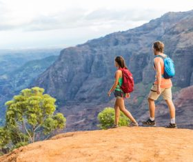 Couple hiking tour Stock Photo
