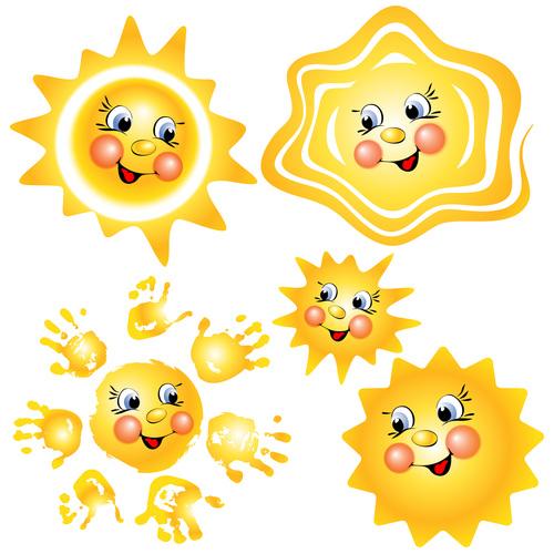 Cute cartoon summer sun vector