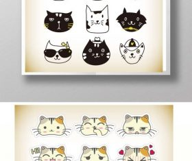 Cute cat expression pack vector material