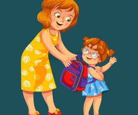 Cute kid with mother vector illustration