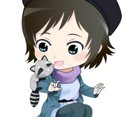 Cute little girl and raccoon vector material