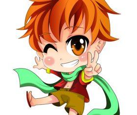 Cute naughty student boy vector