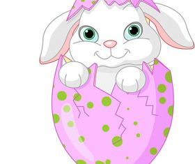 Cute rabbit in easter egg vector