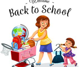 Cute student with back to school background vector 01
