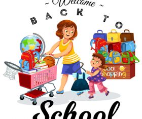 Cute student with back to school background vector 02