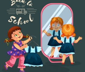 Cute student with back to school background vector 03