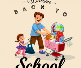 Cute student with back to school background vector 04