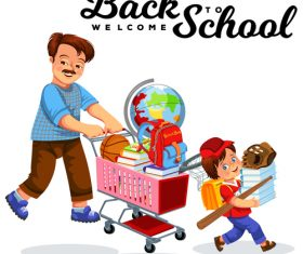 Cute student with back to school background vector 05