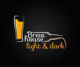 Dark light beer logo vector 03