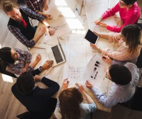 Design team meeting and desktop design drawings Stock Photo
