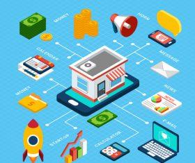 Digital marketing isometric vector