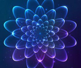Dream cosmic blue flower vector 01