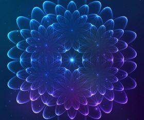 Dream cosmic blue flower vector 02