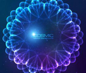 Dream cosmic blue flower vector 04