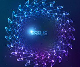 Dream cosmic blue flower vector 05