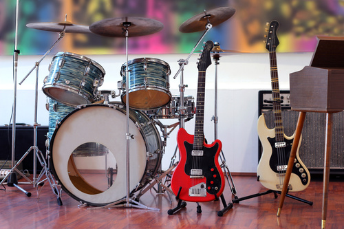 Drum kit and bass Stock Photo