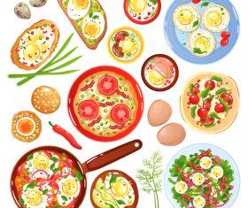 Egg dishes vector set