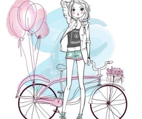 Fashion hand drawn girl and bicycle vector material