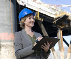 Female engineer doing records Stock Photo
