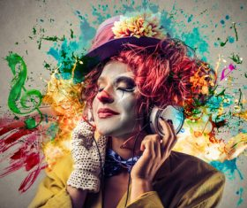 Female funny clown shape listening to music Stock Photo