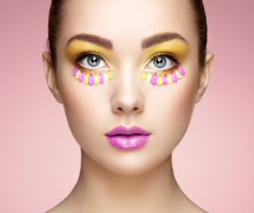 Female model with flowers and eye makeup Stock Photo 01