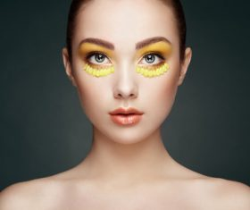 Female model with flowers and eye makeup Stock Photo 02