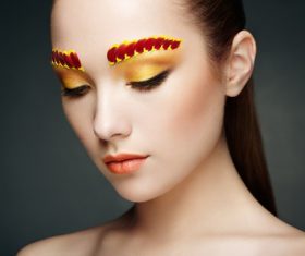 Female model with flowers and eye makeup Stock Photo 03