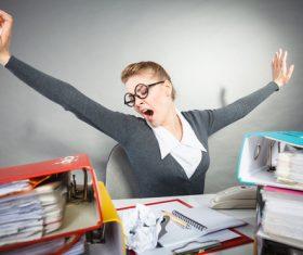 Female secretary working fatigue Stock Photo 01