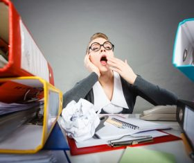 Female secretary working fatigue Stock Photo 02