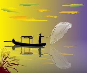Fisherman fishing illustration vector