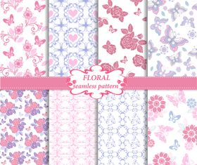 Floral seamless pattern in blue and pink colors vector
