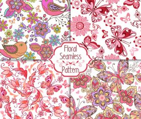Floral seamless pink patterns with birds, butterflies and hearts vector