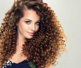 Fluffy Wavy curly girl Stock Photo 04